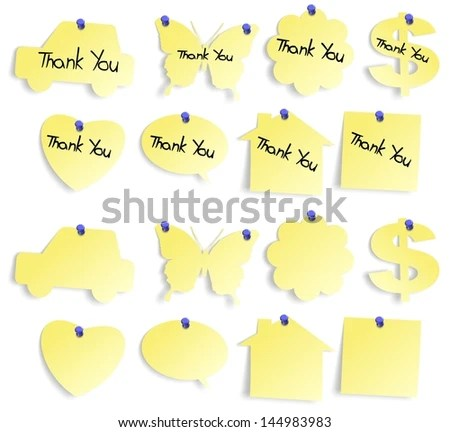 Set Yellow Sticky Notes Blank Thank Stock Illustration - Royalty
