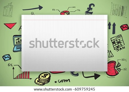 Single Lined Blank Paper Against Green Stock Illustration 609759245