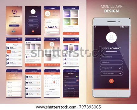 Smartphone Application Design Templates Set Flat Stock Illustration