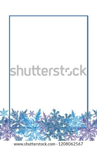 Snowflake Border Decorated Rectangular Frame Template Stock