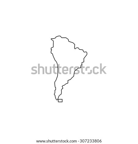 South America Map Outline Black Simple Stock Illustration 307233806
