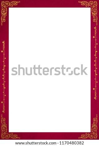 Squared Frame Borders Red Color Golden Stock Illustration - Royalty