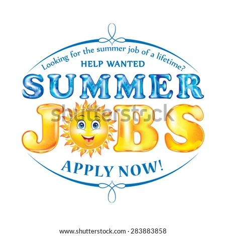 Royalty Free Stock Illustration of Summer Jobs Label Sticker Print