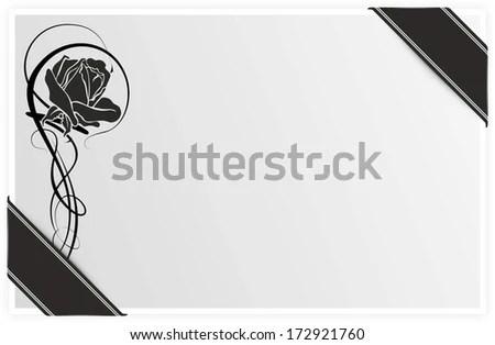 Template Condolences Rose Black Ribbon Stock Illustration 172921760