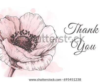 Thank You Card Template Anemone Stationery Stock Illustration