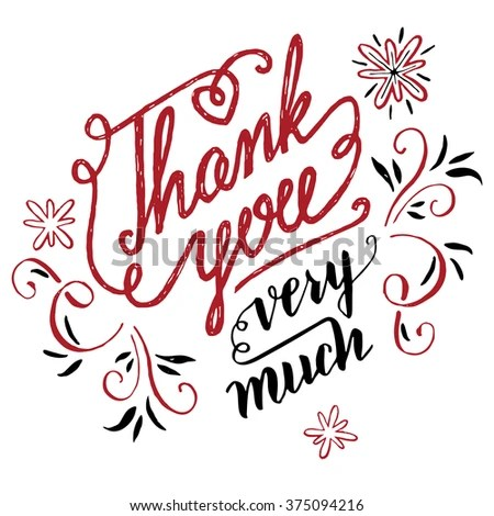 Thank You Very Much Holiday Calligraphy Stock Illustration 375094216