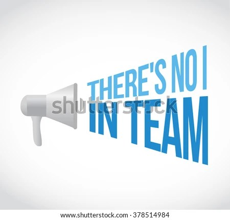 There No Team Megaphone Loudspeaker Message Stock Illustration