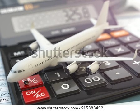 Travel Cost Calculation Concept Airplane Calculator Stock