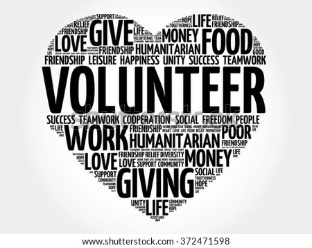 Volunteer Word Cloud Heart Concept Stock Illustration - Royalty Free
