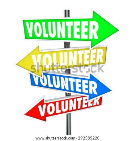 Volunteer Word On Arrow Signs Pointing Stock Illustration - Royalty