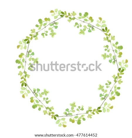 Watercolor Green Leaves Wreath Leaf Boarder Stock Illustration
