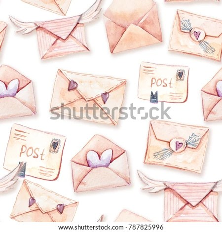 Watercolor Seamless Pattern Different Types Envelopes Stock