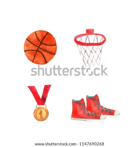 Watercolor Template Basketball Ring Ball Shoes Stock Illustration