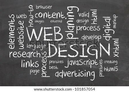 Web Design Word Cloud On Chalkboard Stock Illustration 101857054