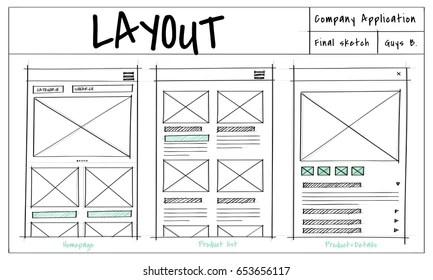 Website Template Sketch Layout Idea Stock Illustration - Royalty