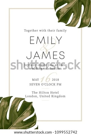 Wedding Event Invitation Card Template Exotic Stock Illustration