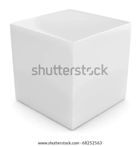 White 3 D Cube Isolated Over White Stock Illustration - Royalty Free
