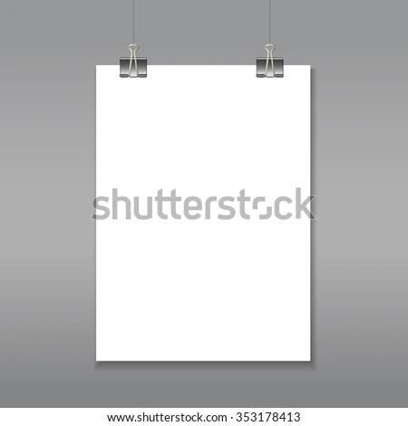 White Paper Sheet Hanging On Clips Stock Illustration 353178413