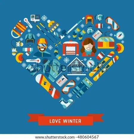 Winter Activity Flat Icon Heart Shape Stock Illustration 480604567