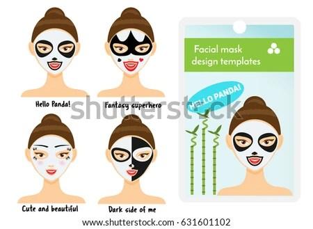 Woman Facial Sheet Masks Design Templates Stock Illustration