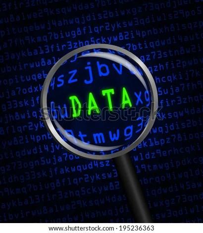 Word DATA Green Revealed Blue Computer Stock Illustration - Royalty