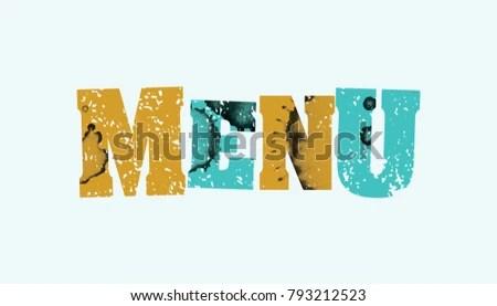 Word MENU Concept Printed Letterpress Hand Stock Illustration
