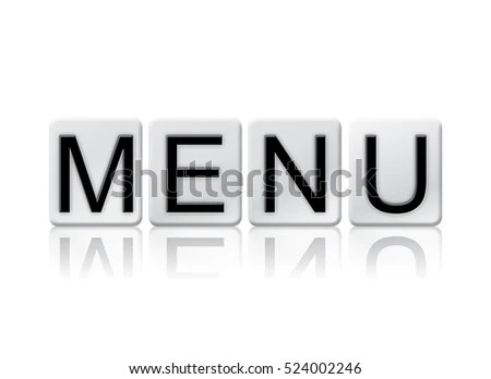 Word Menu Written Tile Letters Isolated Stock Illustration - Royalty