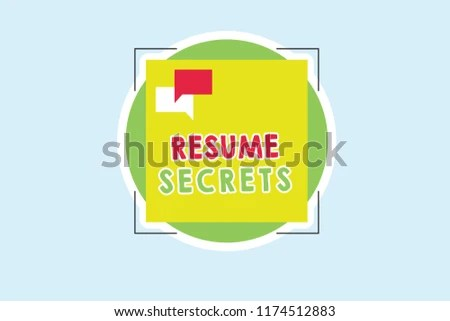 Royalty Free Stock Illustration of Word Writing Text Resume Secrets