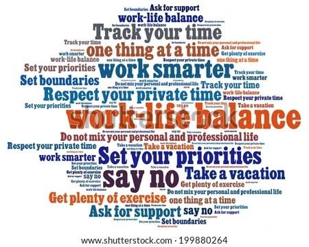 Work Life Balance Tips Word Collage Stock Illustration 199880264