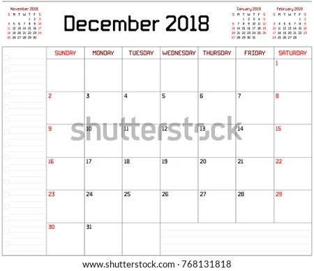Year 2018 December Planner Monthly Planner Stock Illustration - december monthly calender