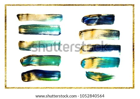 Abstract Background Mixed Paint Green Gold Stock Photo (Edit Now