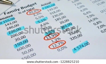 Analysis Monthly Income Expenses Family Budget Stock Photo (Edit Now