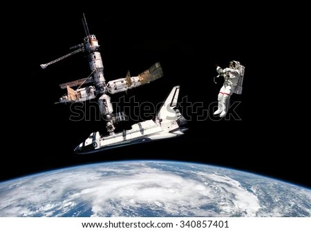 Astronaut Space Shuttle Space Station Elements Stock Photo (Edit Now