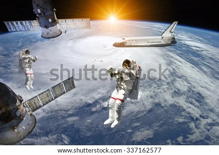 Astronauts Space Shuttle Station Outer Space Stock Photo (Edit Now