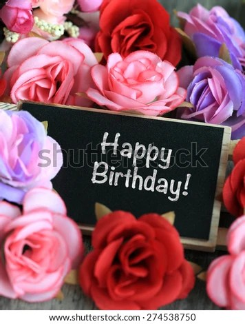 Birthday Wishes Flowers Background Stock Photo (Edit Now) 274538750