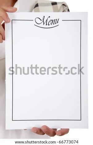 Blank Menu List Held By Caucasian Stock Photo (Edit Now) 66773074