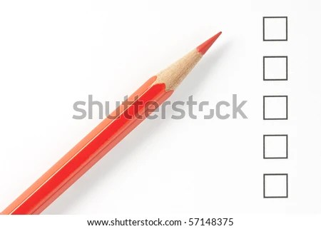 Blank Survey Boxes Red Pencil Close Stock Photo (Edit Now) 57148375