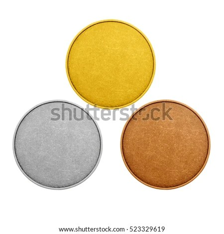Blank Templates Medals Coins Gold Silver Stock Photo (Edit Now