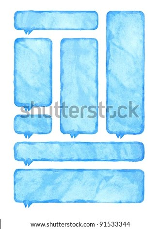 Blue Watercolor Blank Rounded Rectangle Shape Stock Photo (Edit Now