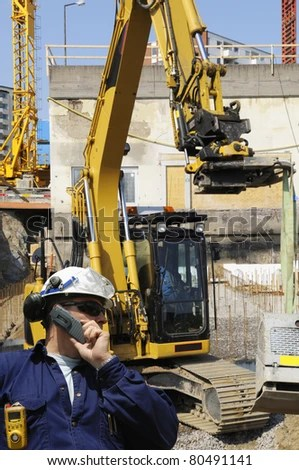 Building Engineer Worker Giant Bulldozer Construction Stock Photo