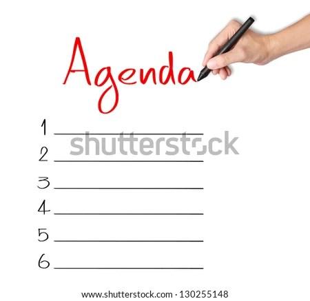 Business Hand Writing Blank Agenda List Stock Photo (Edit Now