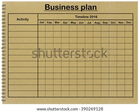 Business Plan Grid Timetable On Notebook Stock Photo (Edit Now