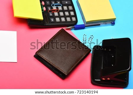 Business Work Concept Calculator Hole Punch Stock Photo (Edit Now
