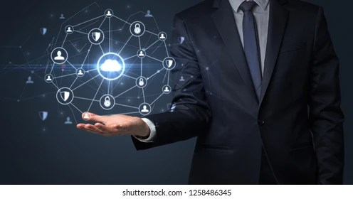 Businessman Holding Networking Connection Concept Dark Stock Photo