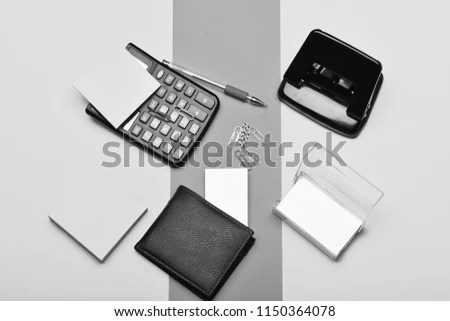 Calculator Hole Punch Business Card Holder Stock Photo (Edit Now