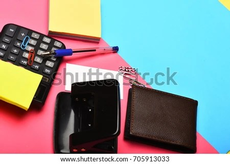 Calculator Hole Punch Business Card Note Stock Photo (Edit Now