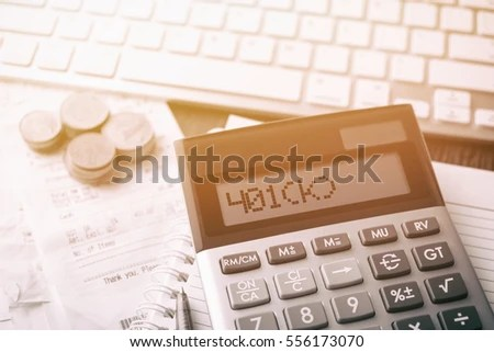 Calculator Text 401 K Calculator Currency Book Stock Photo (Edit Now