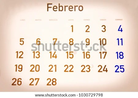 Calendar Month February Spanish Stock Photo (Edit Now) 1030729798