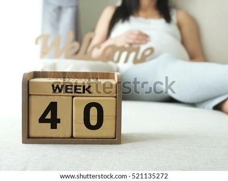 Calendar Weeks 40 Pregnant Pregnancy Woman Stock Photo (Edit Now