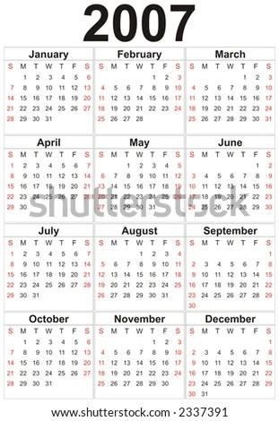 Calendar Year 2007 Stock Photo (Edit Now) 2337391 - Shutterstock